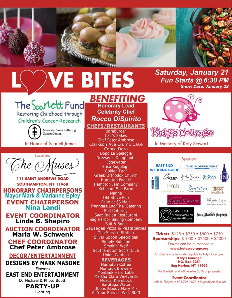 Love Bites, January 21, 2017, benefiting The Scarlett Fund and Katy's Courage